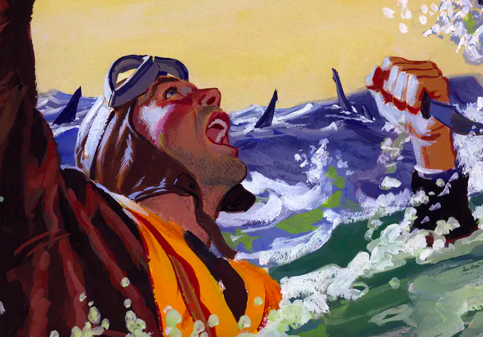 A painting for the U.S. Army's Stars and Stripes newspaper shows a downed pilot fending off sharks with a knife. Ed Vebell/Getty Images